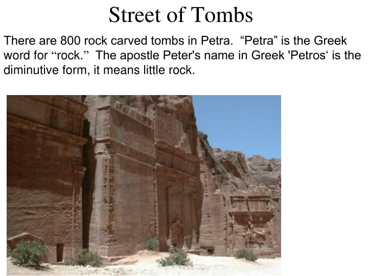 """There are 800 rock carved tombs in Petra.  """"Petra"""" is the Greek word for"""