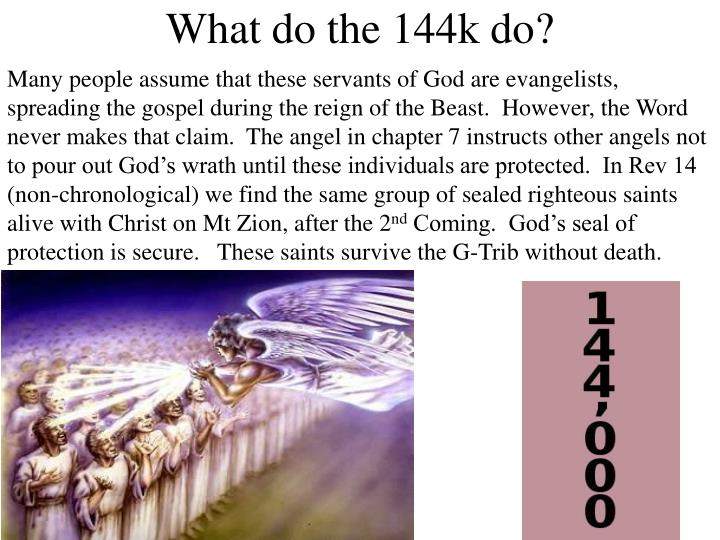 Many people assume that these servants of God are evangelists, spreading the gospel during the reign of the Beast.  However, the Word never makes that claim.  The angel in chapter 7 instructs other angels not to pour out God's wrath until these individuals are protected.  In Rev 14 (non-chronological) we find the same group of sealed righteous saints alive with Christ on Mt Zion, after the 2