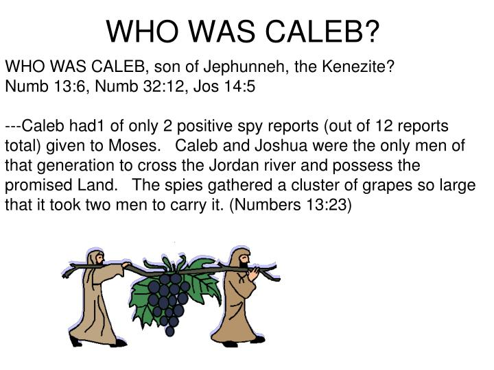 WHO WAS CALEB, son of Jephunneh, the Kenezite?            Numb 13:6, Numb 32:12, Jos 14:5