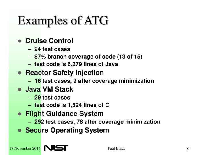 Examples of ATG