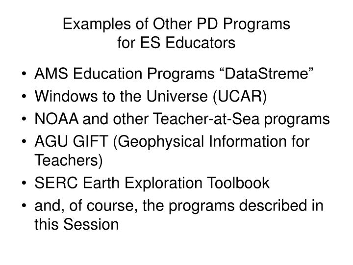 Examples of Other PD Programs