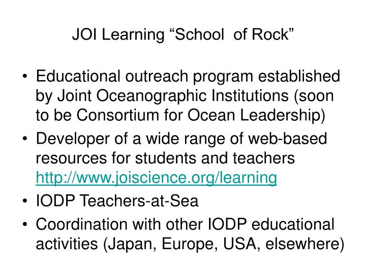 """JOI Learning """"School  of Rock"""""""