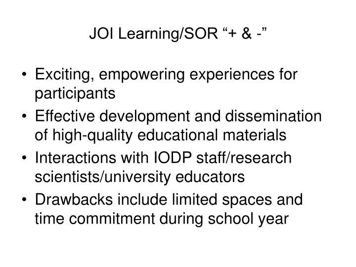 """JOI Learning/SOR """"+ & -"""""""