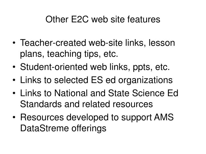 Other E2C web site features