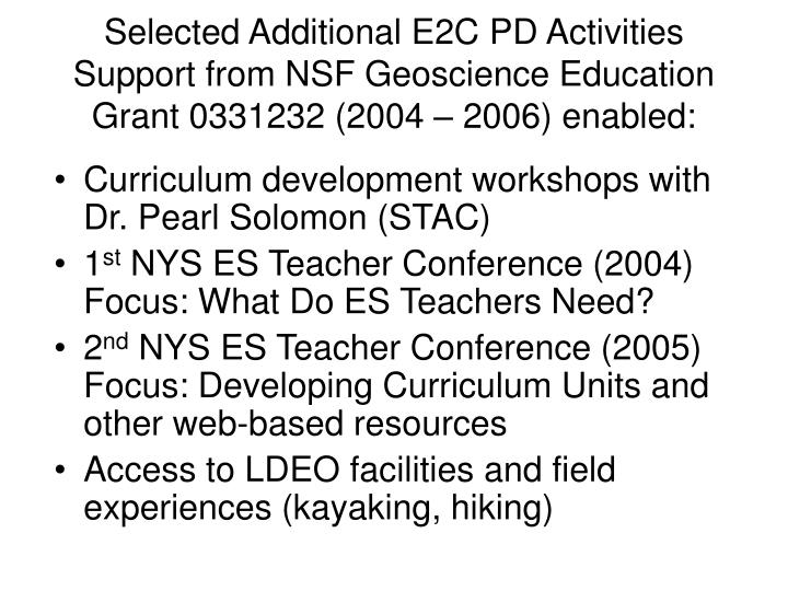 Selected Additional E2C PD Activities