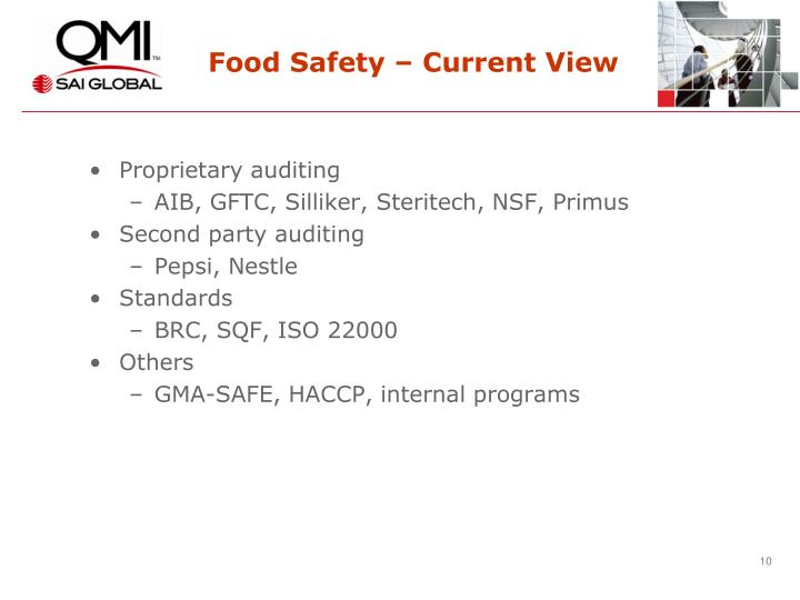 Food Safety – Current View