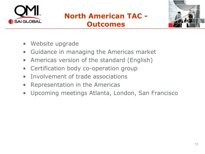 North American TAC - Outcomes
