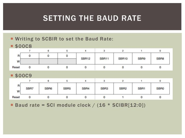 Setting the Baud Rate