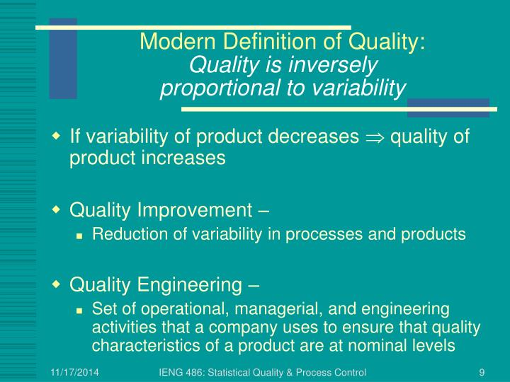 Modern Definition of Quality: