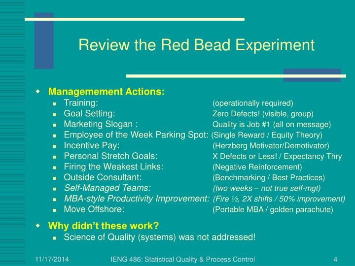 Review the Red Bead Experiment