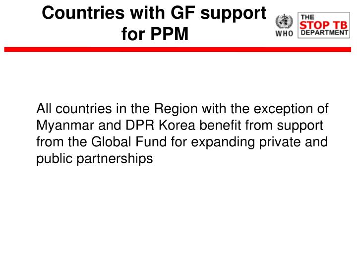 Countries with gf support for ppm