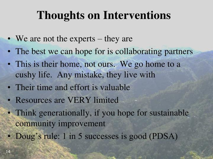 Thoughts on Interventions