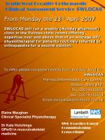 south west locality orthopaedic clinical assessment service swlocas