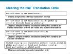 clearing the nat translation table