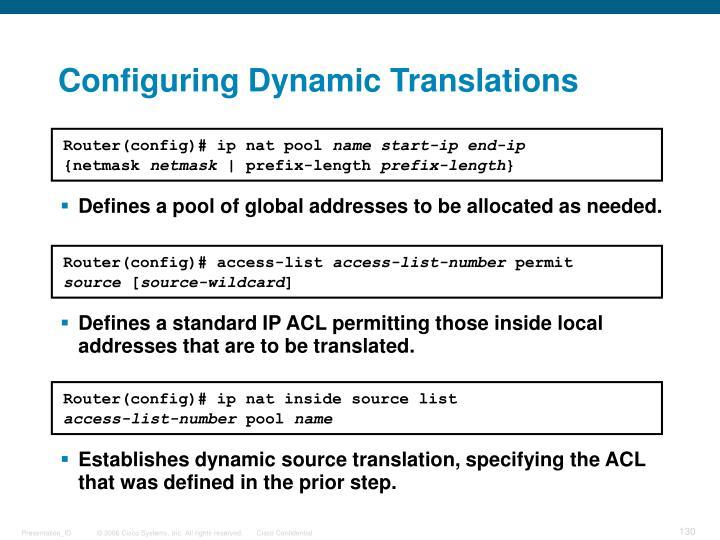 Configuring Dynamic Translations