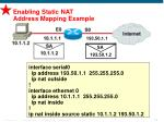 enabling static nat address mapping example