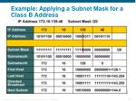 example applying a subnet mask for a class b address