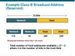 example class b broadcast address reserved