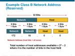 example class b network address reserved