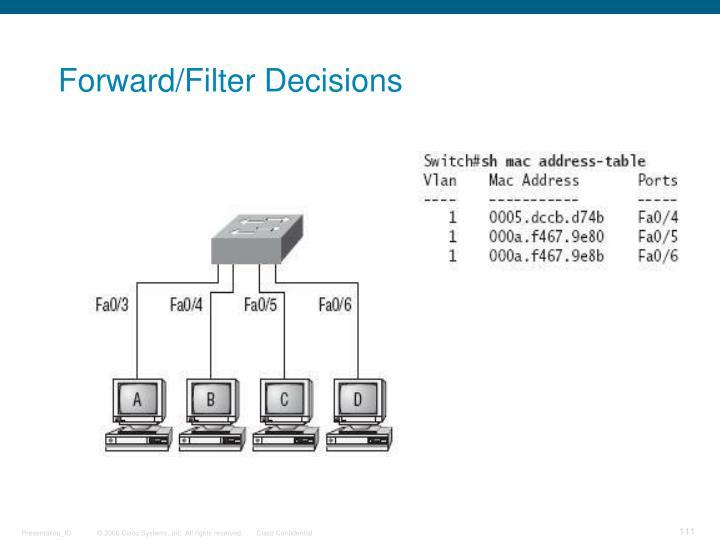 Forward/Filter Decisions