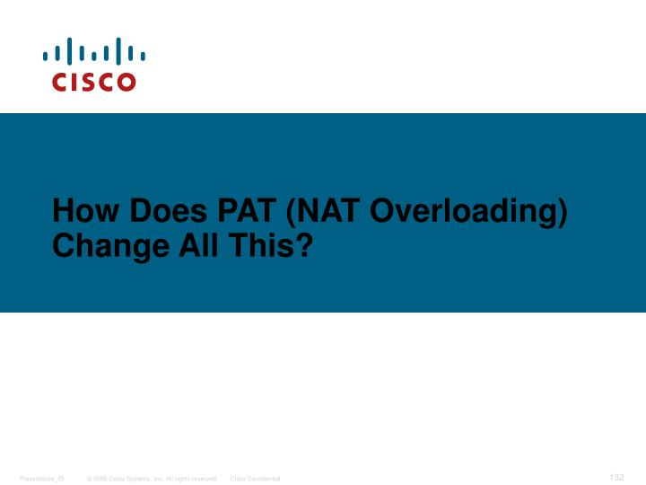 How Does PAT (NAT Overloading) Change All This?