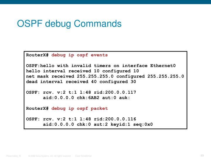 OSPF debug Commands