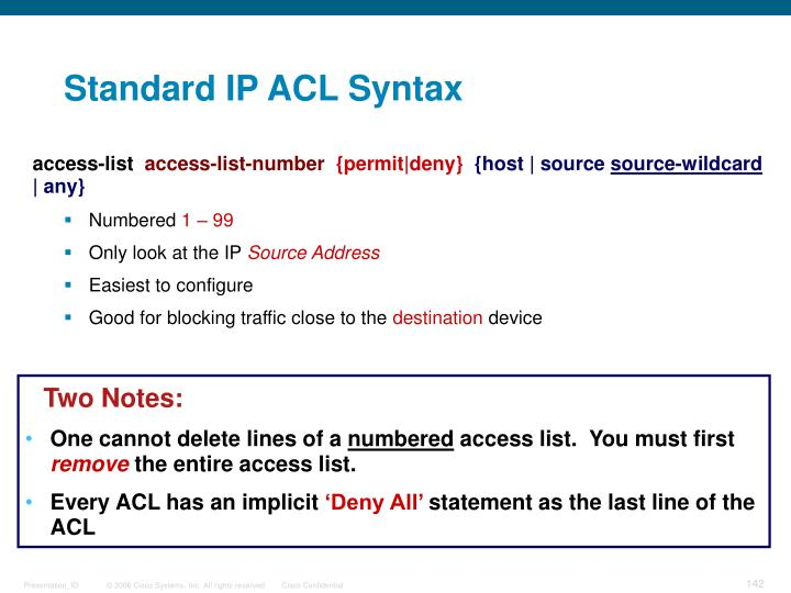 Standard IP ACL Syntax