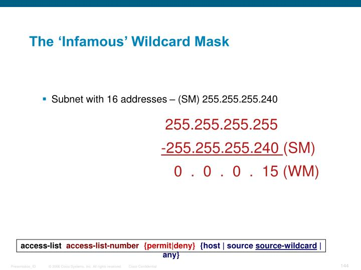 The 'Infamous' Wildcard Mask