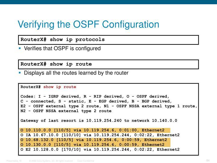 Verifying the OSPF Configuration