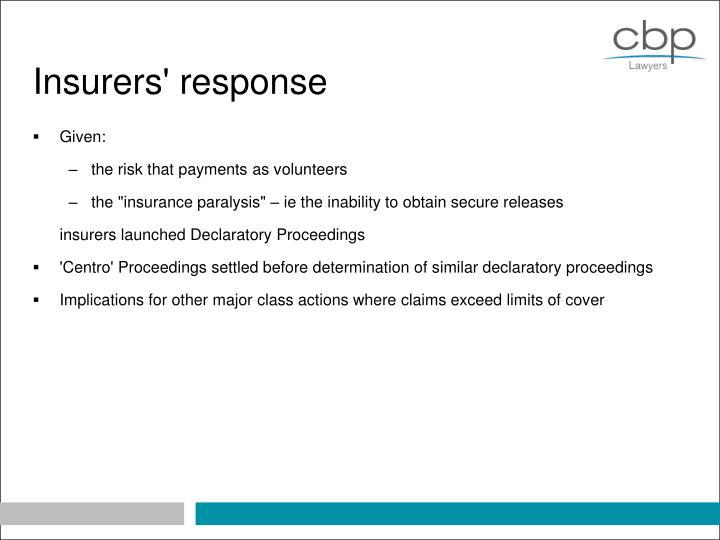 Insurers' response