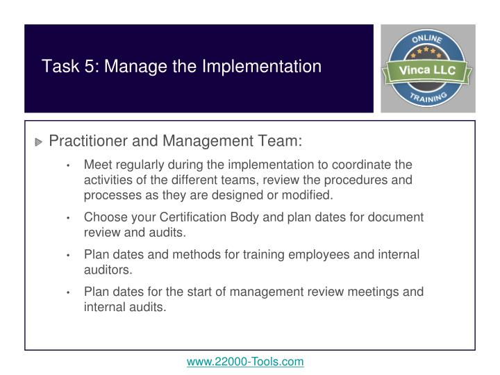 Task 5: Manage the Implementation