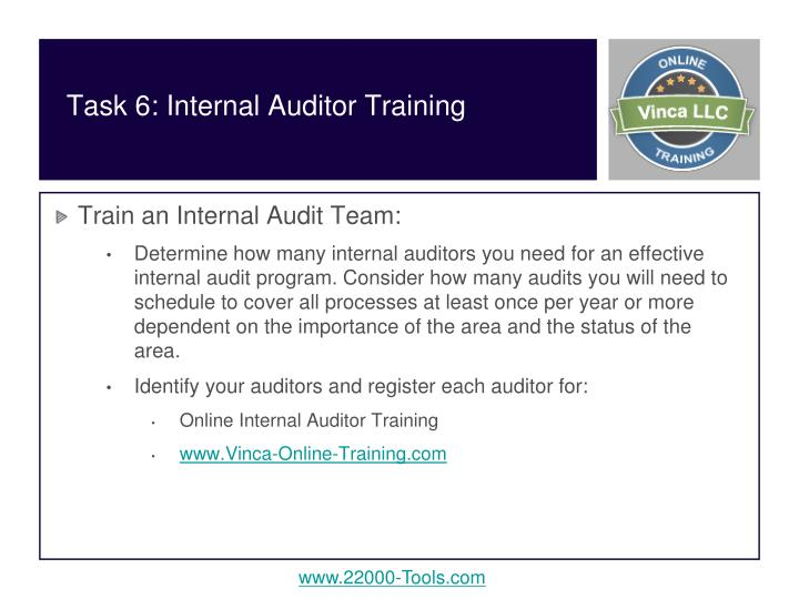 Task 6: Internal Auditor Training