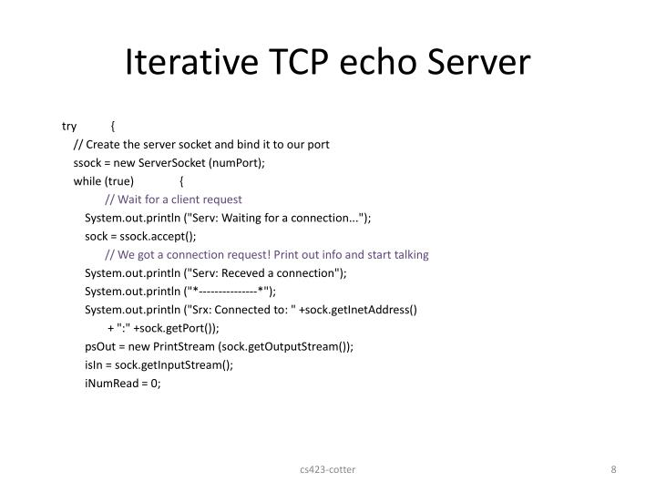 Iterative TCP echo Server