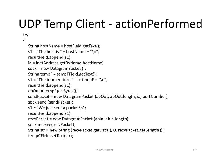 UDP Temp Client - actionPerformed