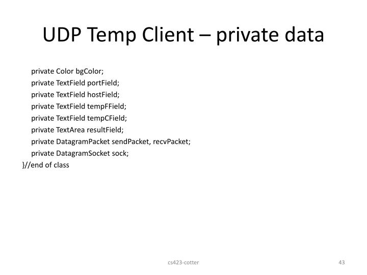 UDP Temp Client – private data