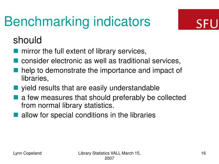 Benchmarking indicators