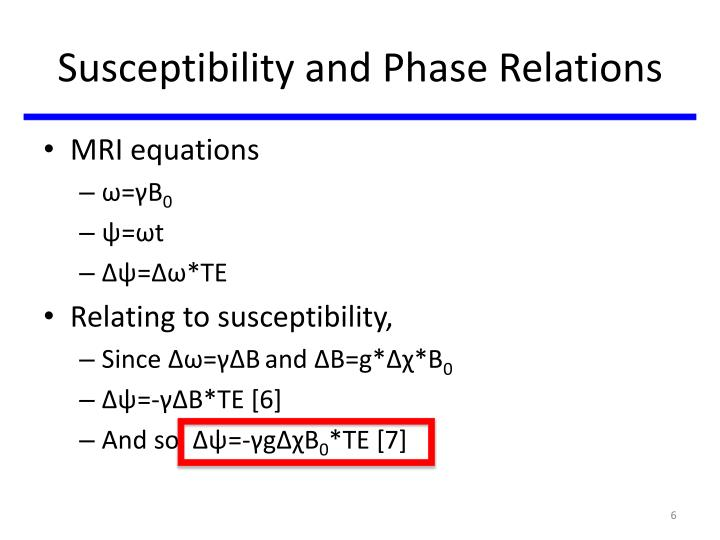 Susceptibility and Phase Relations