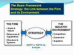 the basic framework strategy the link between the firm and its environment