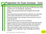 proposition for dues increase cont