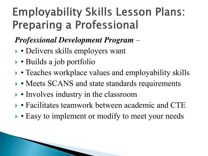 Employability Skills Lesson Plans: Preparing a Professional