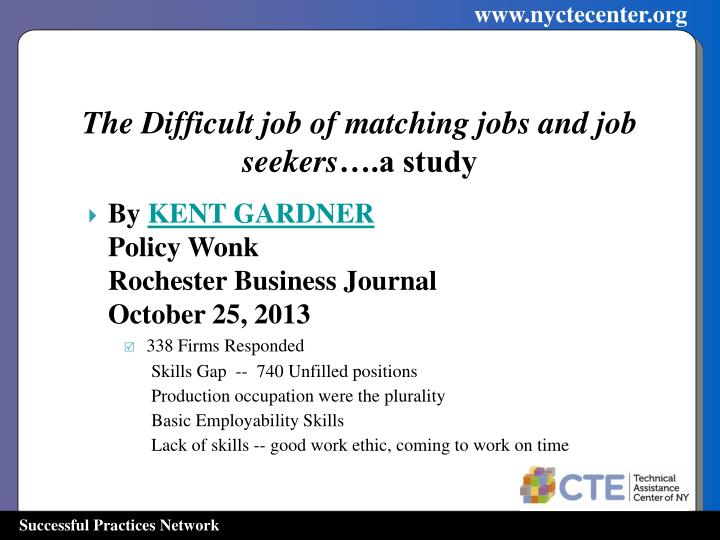 The Difficult job of matching jobs and job seekers