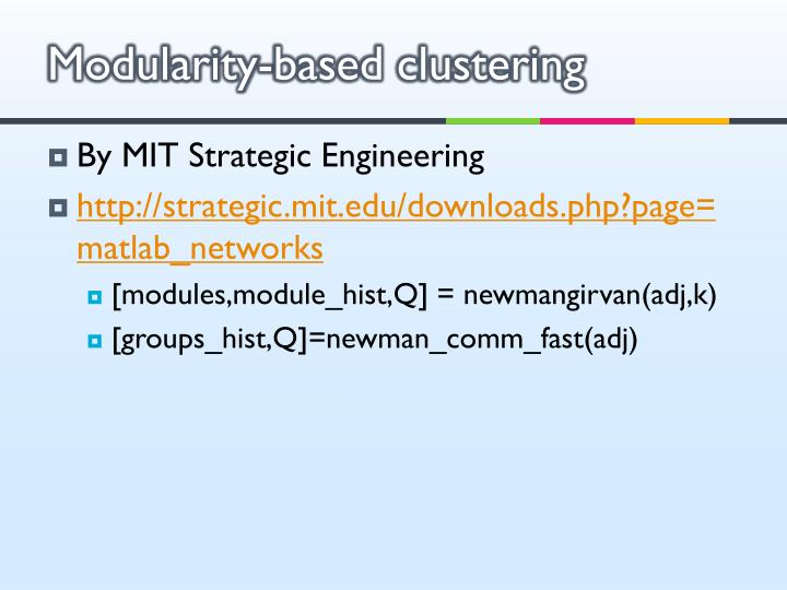 Modularity-based clustering