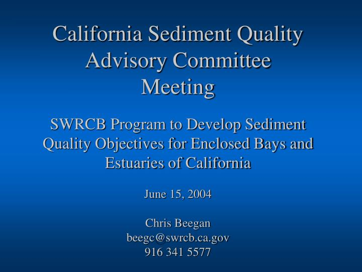 California Sediment Quality Advisory Committee