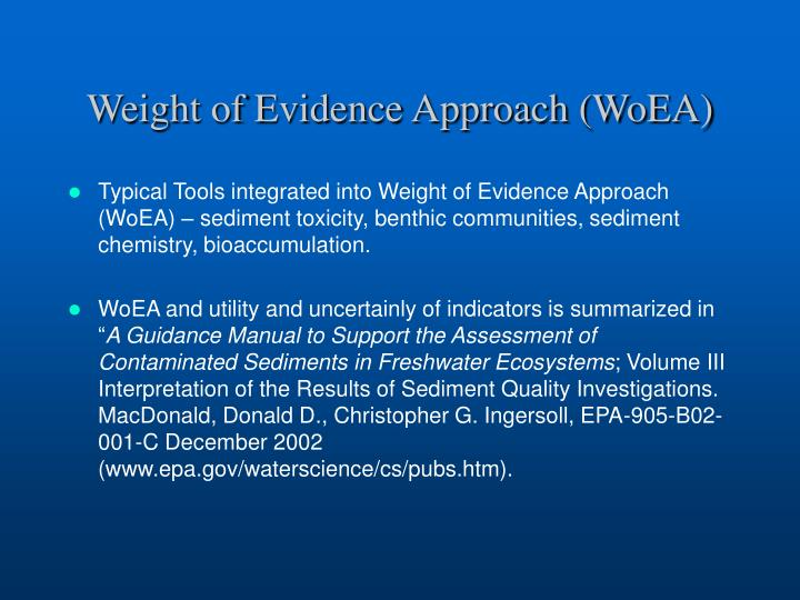 Weight of Evidence Approach (WoEA)