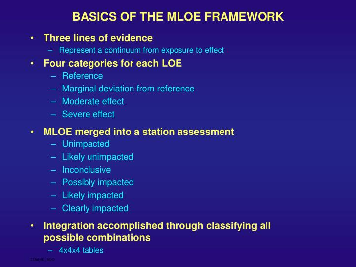 BASICS OF THE MLOE FRAMEWORK