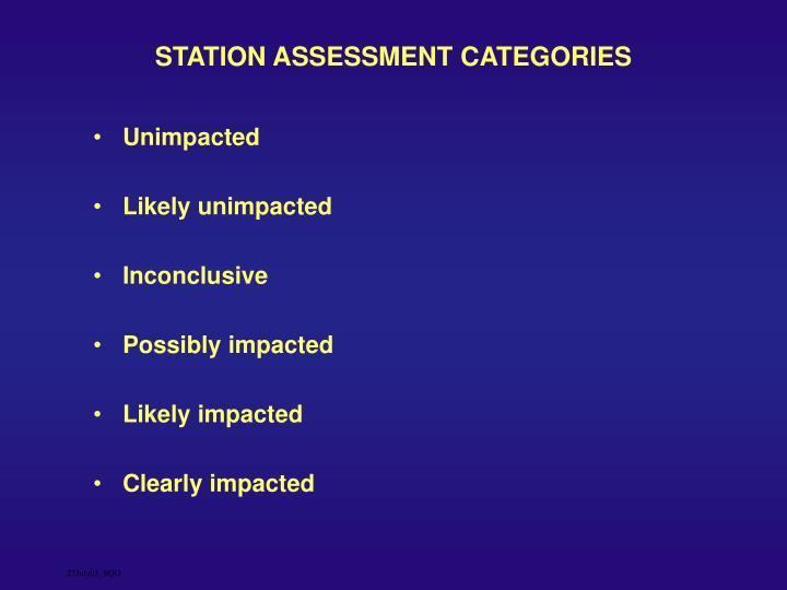 STATION ASSESSMENT CATEGORIES