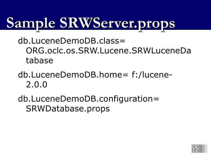 Sample SRWServer.props
