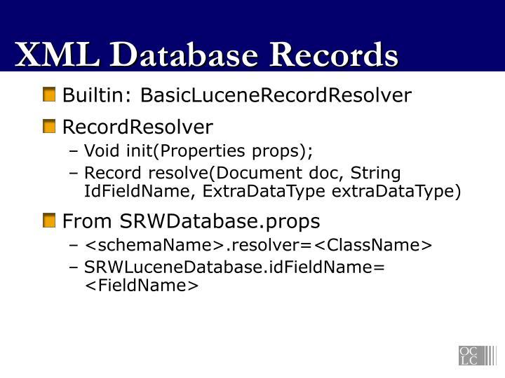 XML Database Records