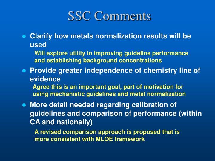 SSC Comments