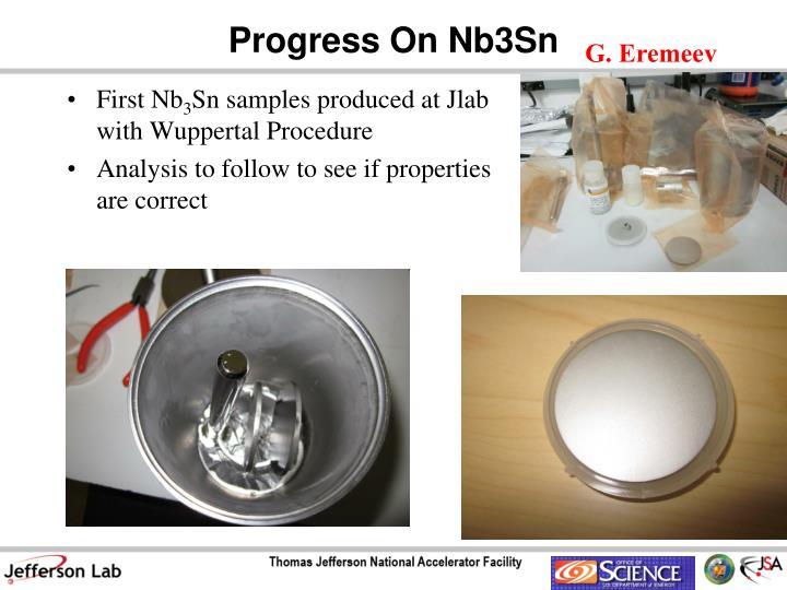 Progress On Nb3Sn